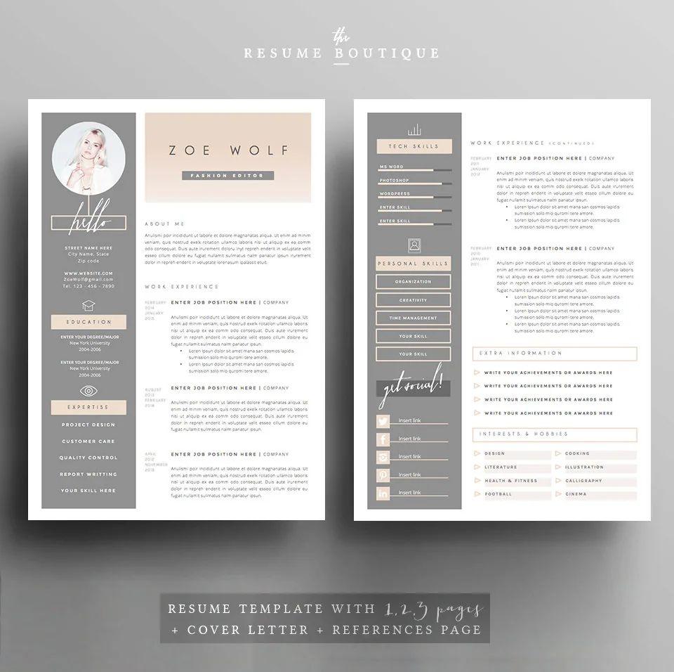modern resume references