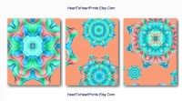 Teal Peach Flower Abstract Wall Art Coral by ...