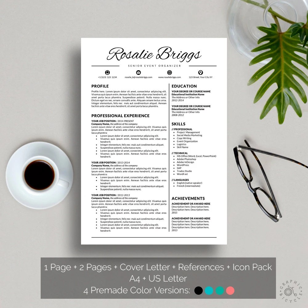 Resume Template Instant Download Creative Resume Template - artistic resume templates