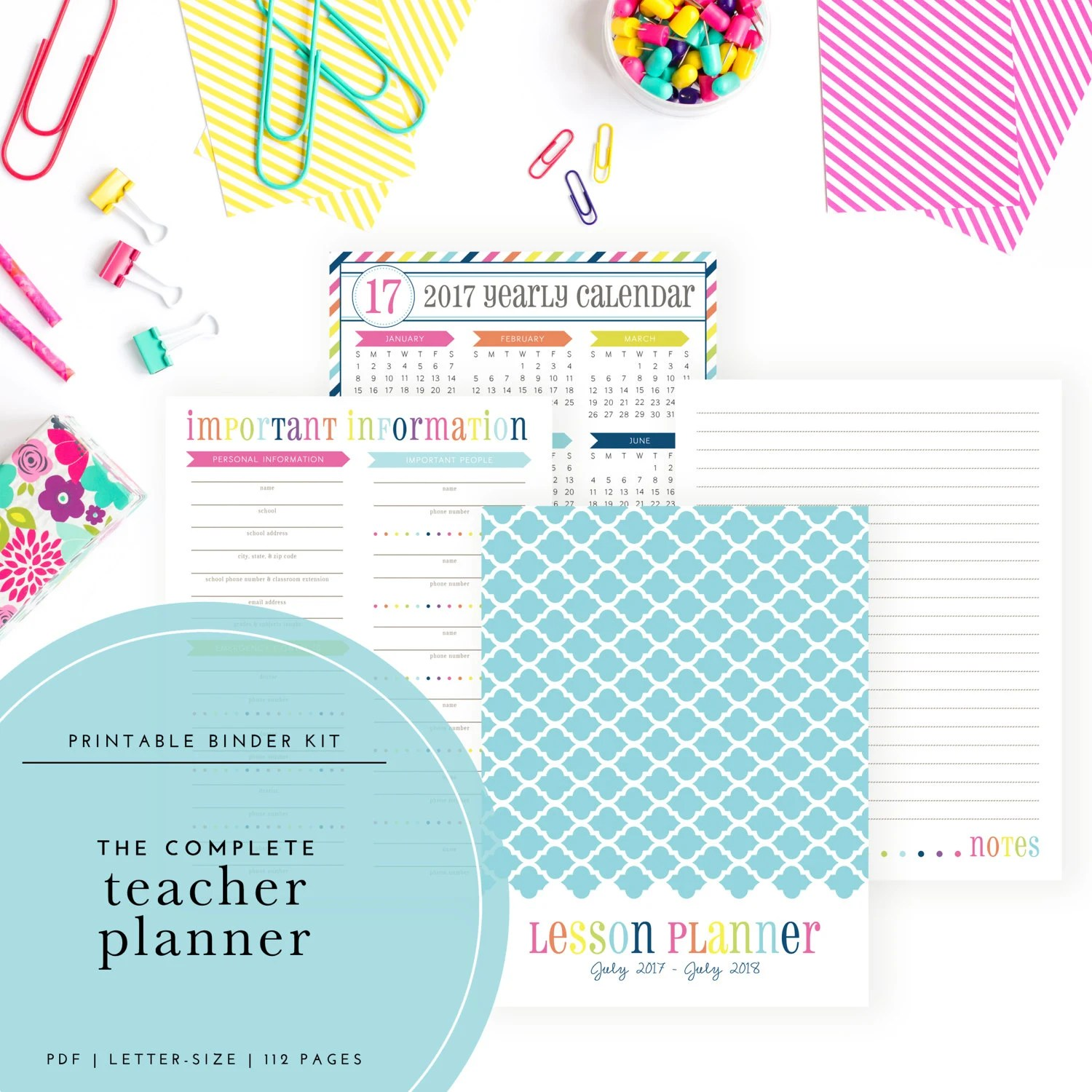 The Complete 2017-2018 Teacher Planning Kit Includes lesson - teachers planning calendar