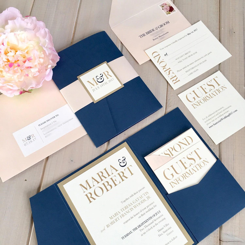 ivory invitation pink wedding invitations Navy Blush and Gold Wedding Invitations Navy and Pink Wedding Invitations Navy and Gold Wedding Invitations