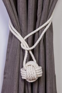 Cotton Rope Monkey Fist Knot Tie-backs / Nautical curtain