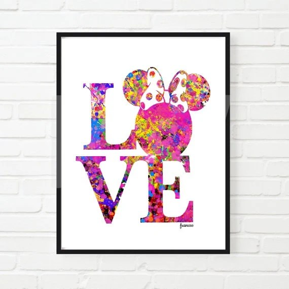 Love Minnie Mouse Printable Minnie Mouse Watercolor Disney Inspired