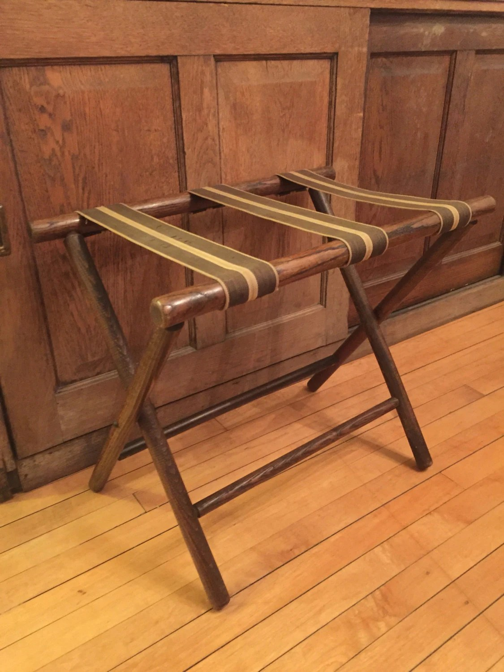 Vintage Oak Wood Luggage Rack Luggage Stand Suitcase Stand