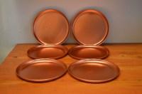 Vintage Copper dinner plates retro copper color dishes pink