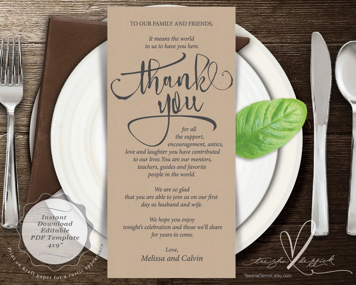 place setting cards template
