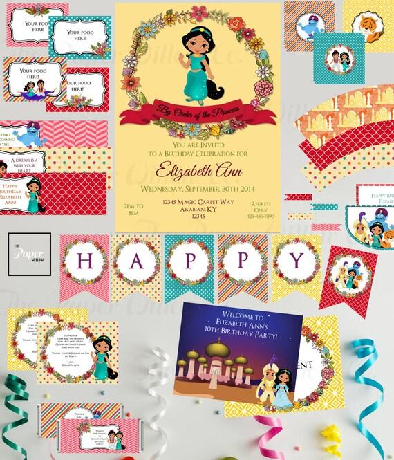 Jasmine-Aladdin-Birthday-Printable Party Set-DIY Printable-Instant