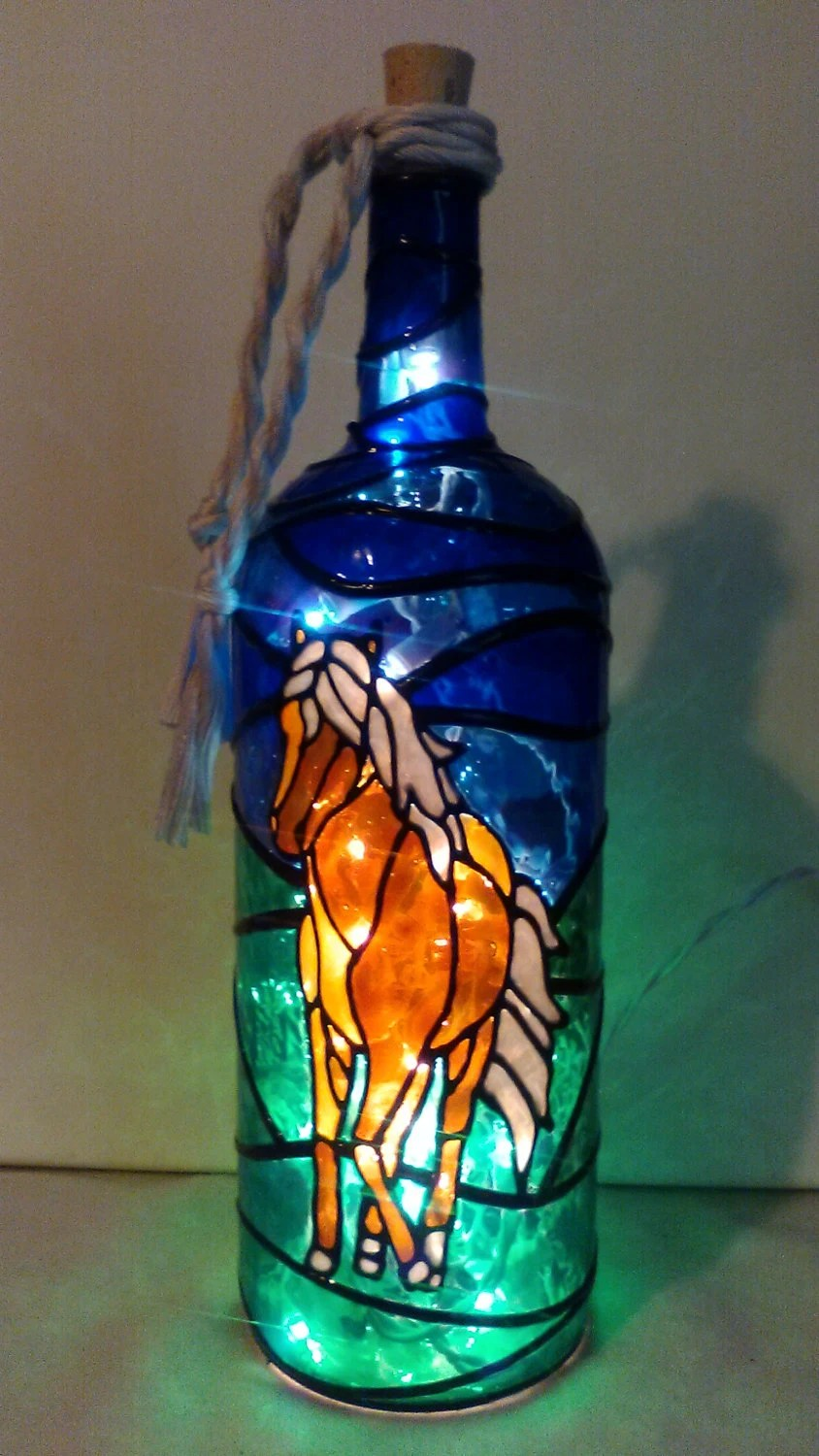 String Lights Make Your Own Horse Lover Bottle Lamp Hand Painted Stained Glass Look