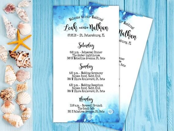 Beach Wedding Itineraries - 25 Wedding Schedule - Ceremony Cards