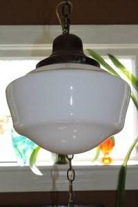 Vintage Schoolhouse Light Swag Lamp Milk Glass Shade ...