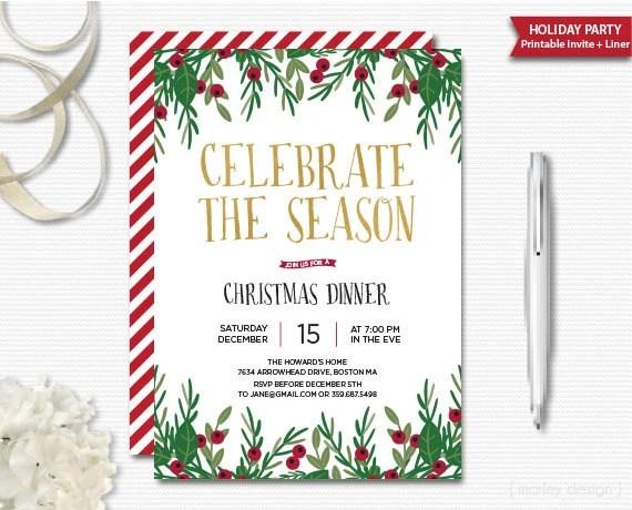 Celebrate the Season Invitation Christmas Invitation Printable