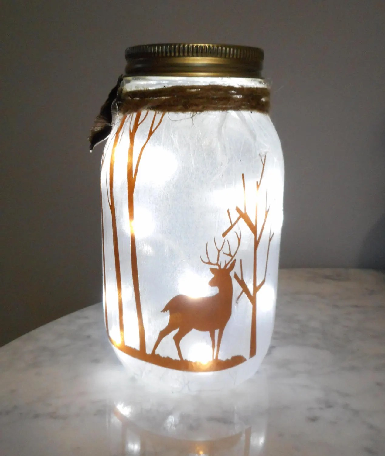 Battery Powered Sconces Deer Night Light Mason Jar Lights Hunting Theme Woodland