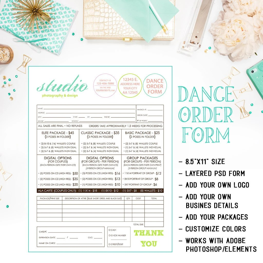 infinityimage - School Dance Or Dance Team Photography Order Form