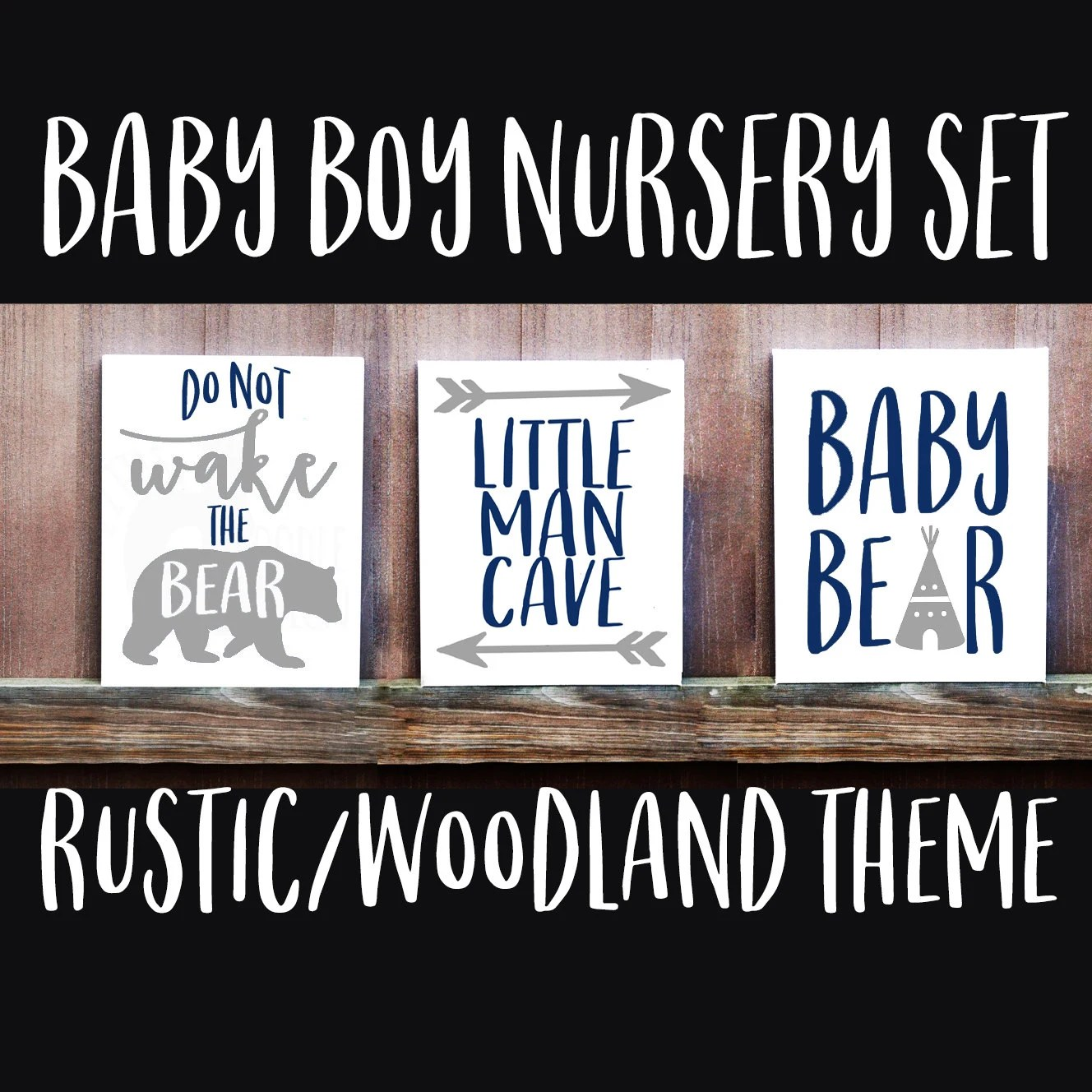 Nursery Signs Baby Boy Nursery Set Of Three Rustic Nursery