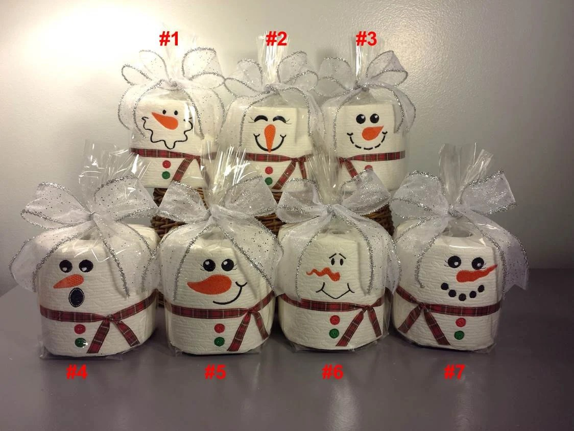 Embroidered Toilet Paper Snowman Toilet Paper By Pinkbluekitty