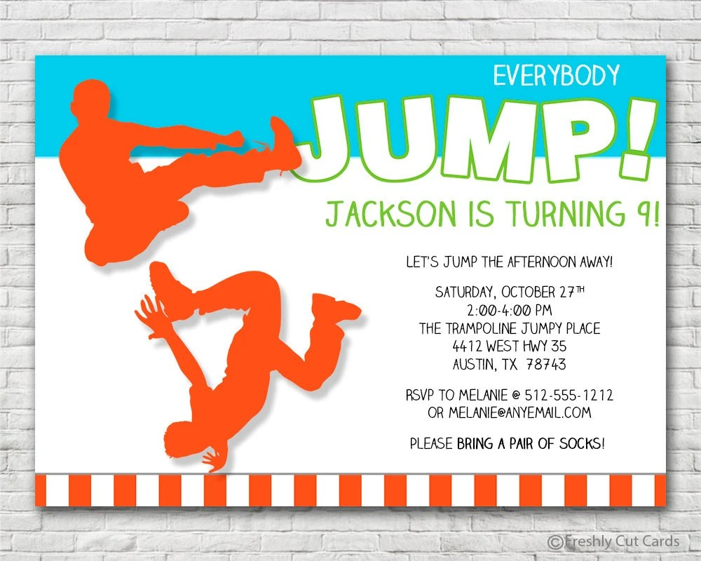 Everybody Jump Birthday Invitation - Printable or Printed (w/ FREE