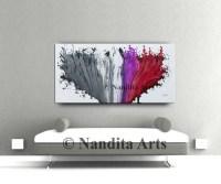 Fuchsia wall art painting red art gray custom wedding gift