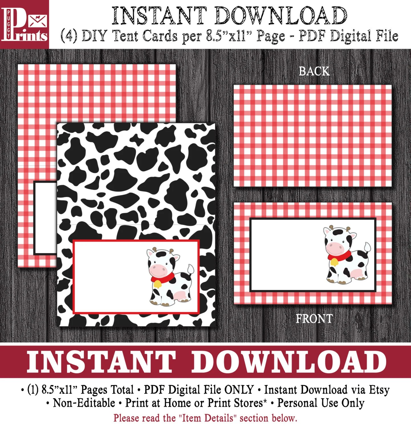 Cow Tent Cards Cow Print Buffet Cards, Food Labels, Place Cards