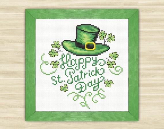 Buy 2 get 1 free Happy St Patrick Day Cross Stitch Pattern - family reunion invitation template