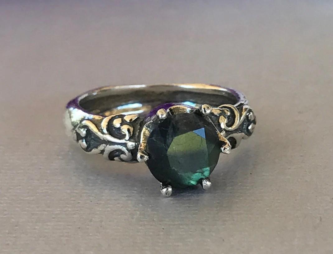 labradorite ring labradorite wedding ring Women s Labradorite Engagement Ring Natural Round Labradorite Vintage Design Crown Sterling Silver Labradorite Stone Promise Solitaire Ring
