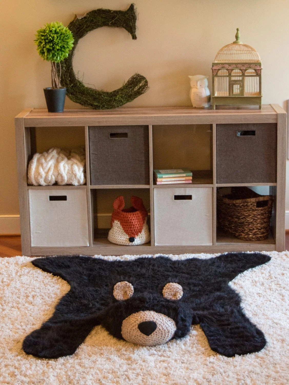 Baby Rugs For Nursery Room Black Bear Rug Faux Bear Rug L Woodland Nursery Baby Room