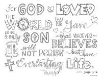 Bible Verse Coloring Page John 3:16 Printable 8.5x11