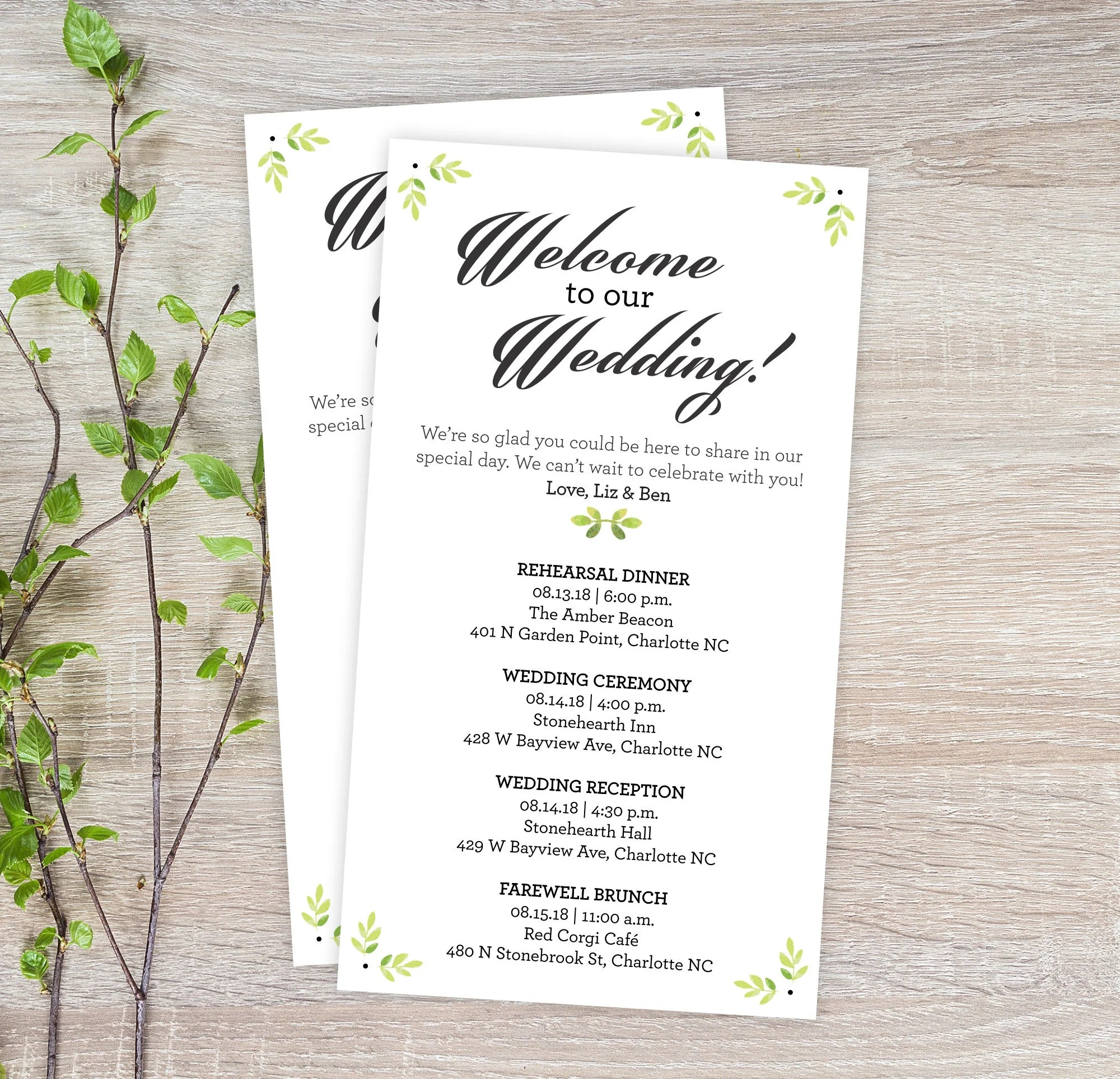 Garden Wedding Itineraries - 25 Wedding Schedule Cards - Ceremony