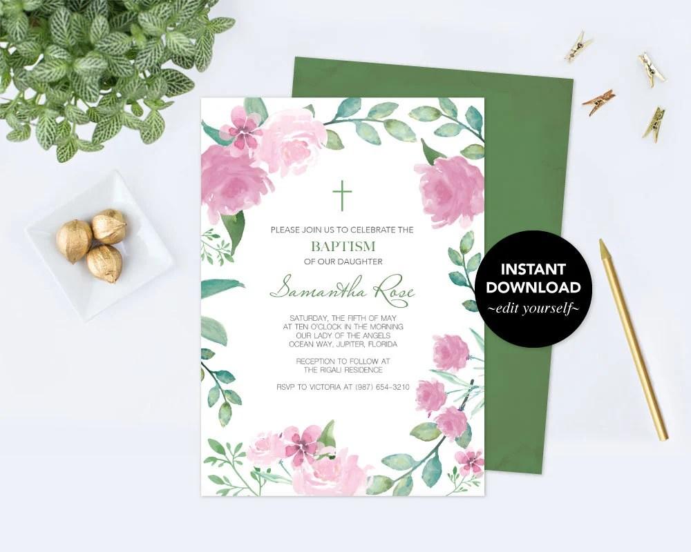 Girls Baptism Invitation, Floral Baptism Invitation, Baptism Girl