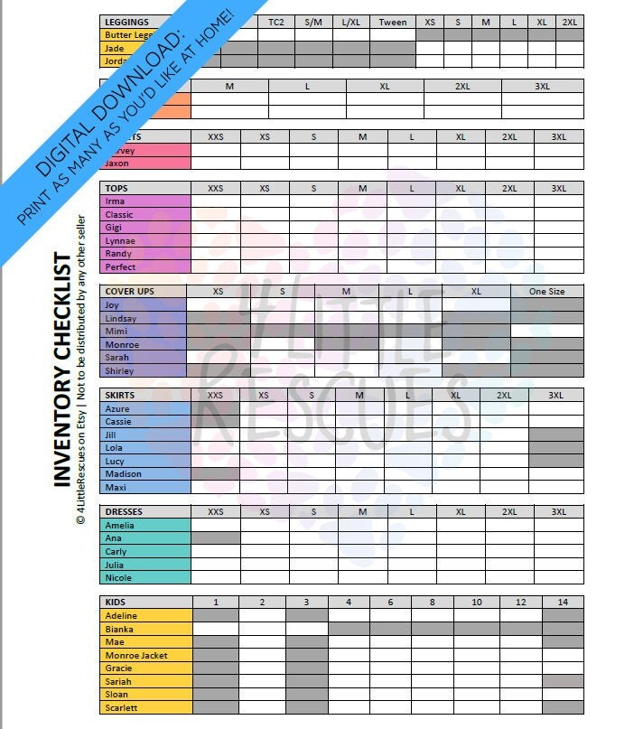 Updated LLR Inventory Checklist Printable PDF Includes All - inventory sheets printable