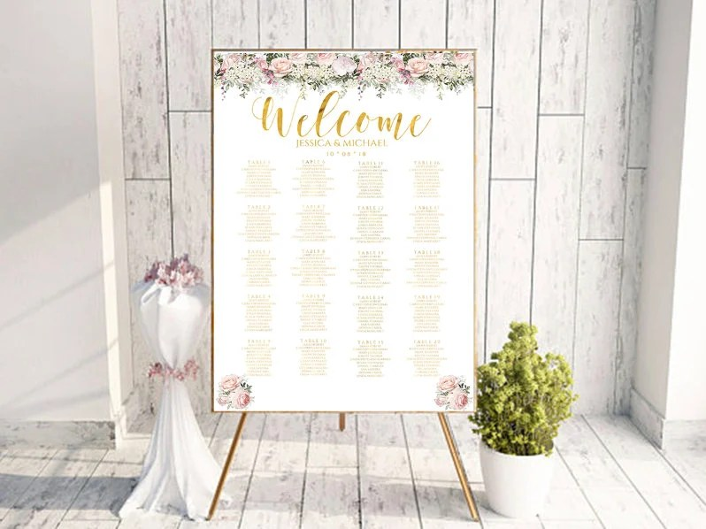 floral seating chart, wedding guest list, table assignment, editable