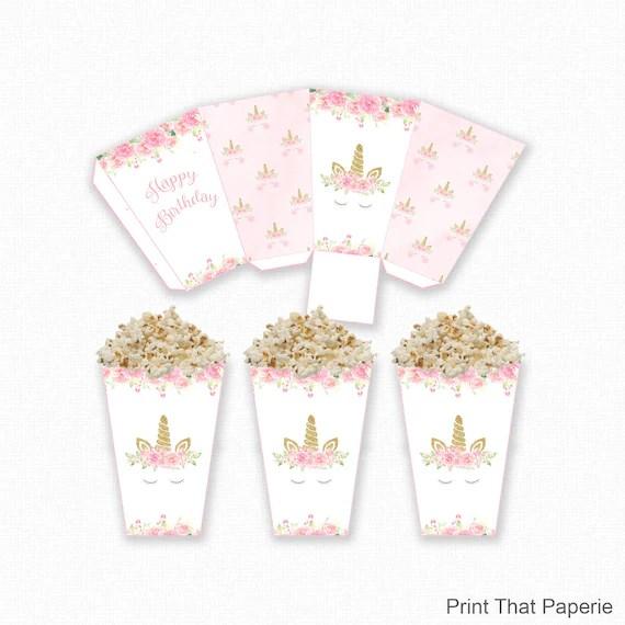 Unicorn Popcorn Box - Unicorn Birthday Popcorn Box - Printable