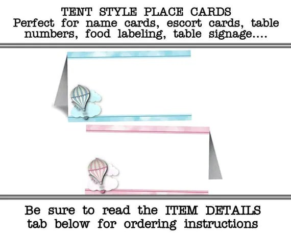 12 Tent Style Place Cards, Food Labeling Cards, Table Number Cards