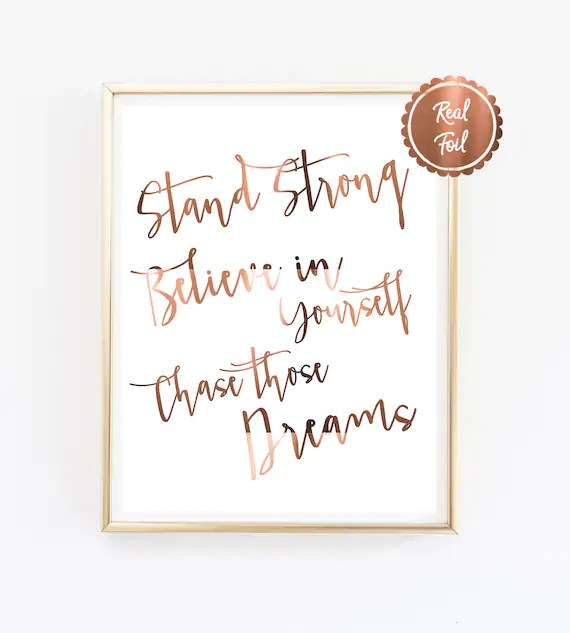 Inspiring Quote Print    Stand strong    Believe in yourself - privacy statement