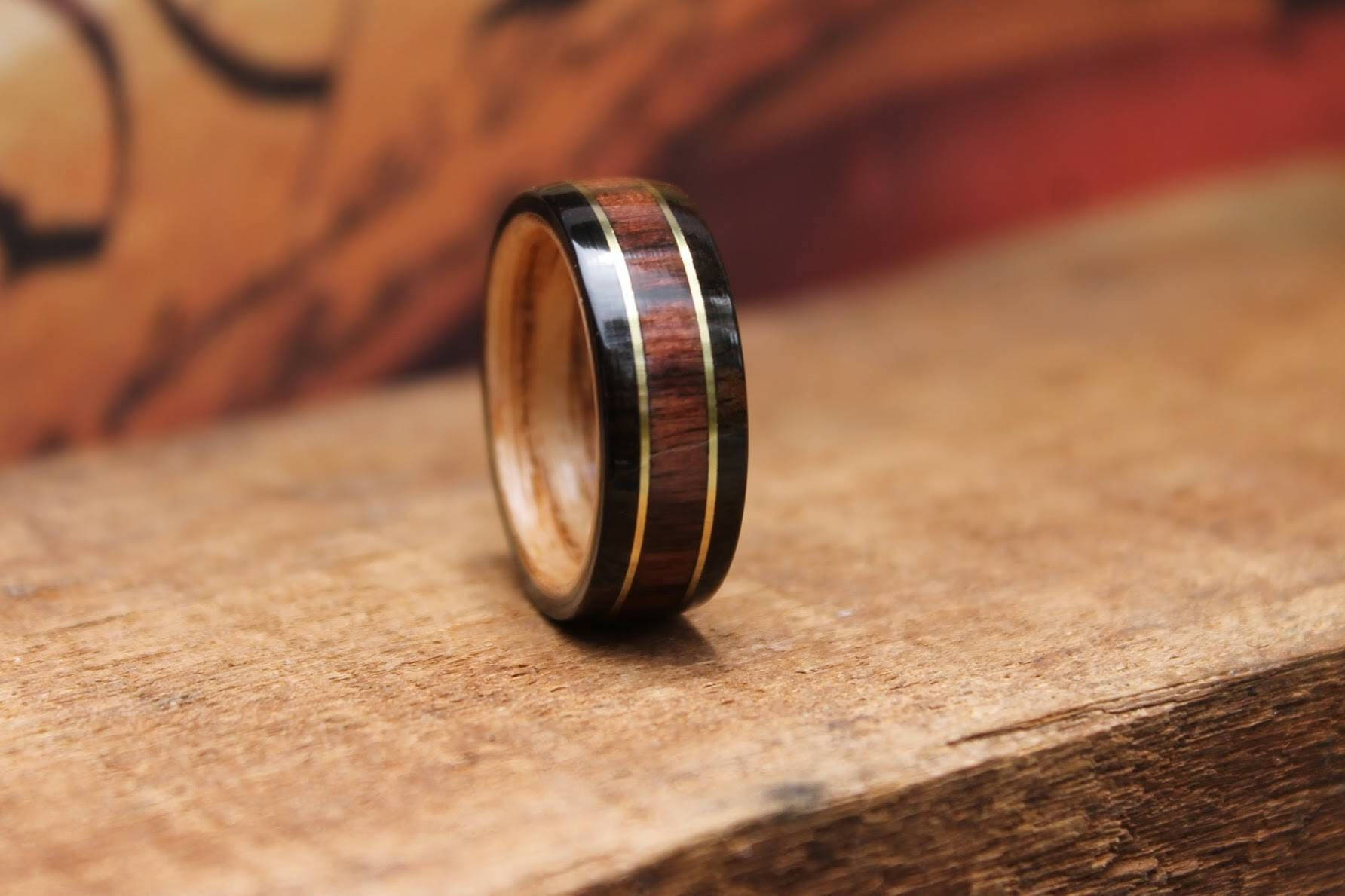 kingwood bentwood ring brass inlay wood mens wedding rings wood Sparrow Wood Rings