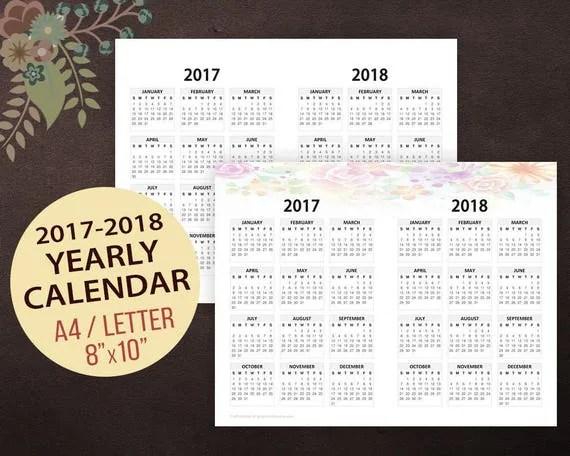 Yearly Calendar 2017 Download 2017 Calendar Templates Download 2017 Monthly Yearly 2017 2018 Yearly Calendar Horizontal Wall Calendar Printable