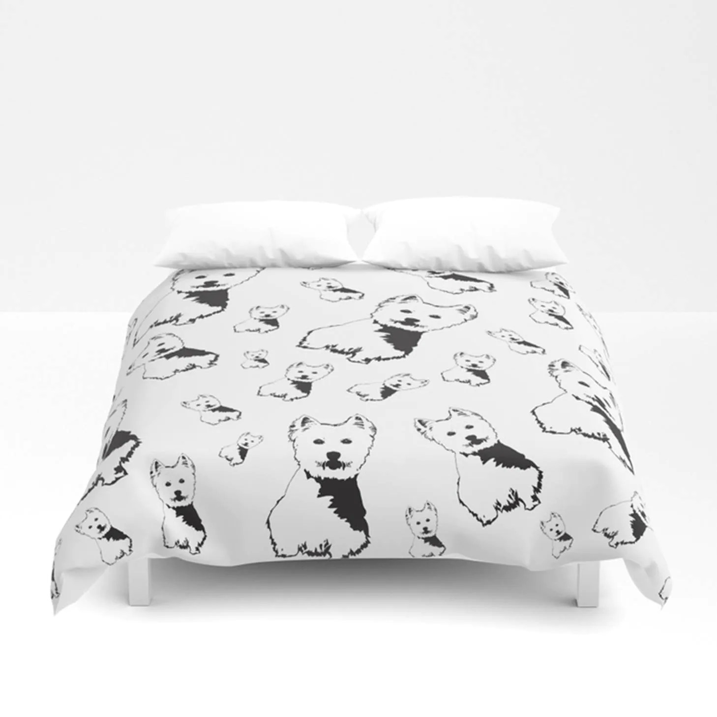 Bettwäsche Dog Side West Highland Terrier Duvet Cover Westie Bedding Monochrome