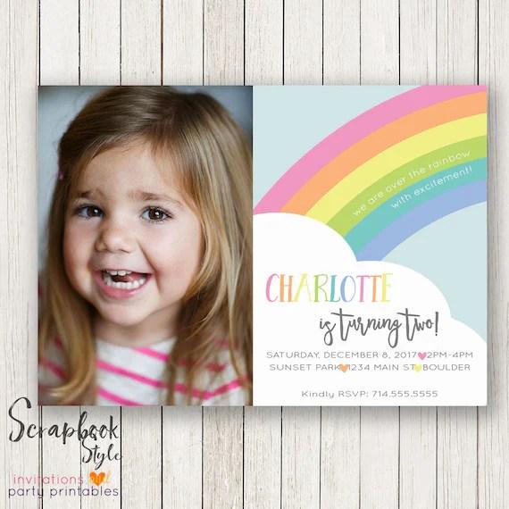 Pastel Rainbow Birthday Invitation Rainbow Invitations Rainbow
