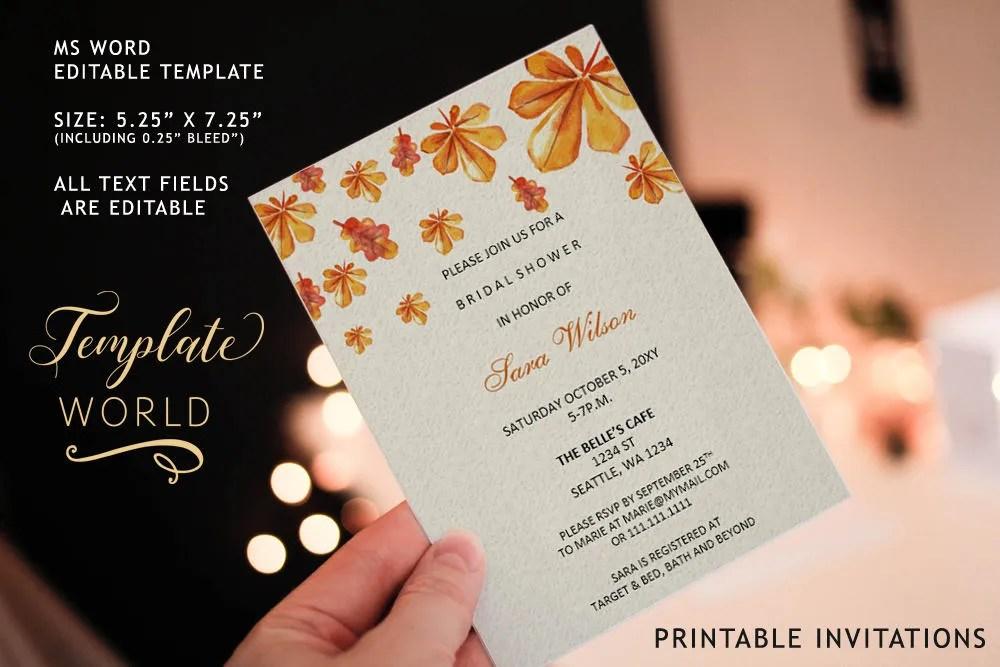 PRINTABLE Fall Bridal Shower Invitation Template, Fall Bridal - bridal shower invitation templates for word