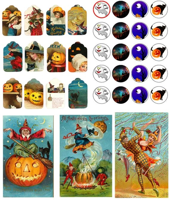 Halloween vintage Gift Tags + cards printable templates images