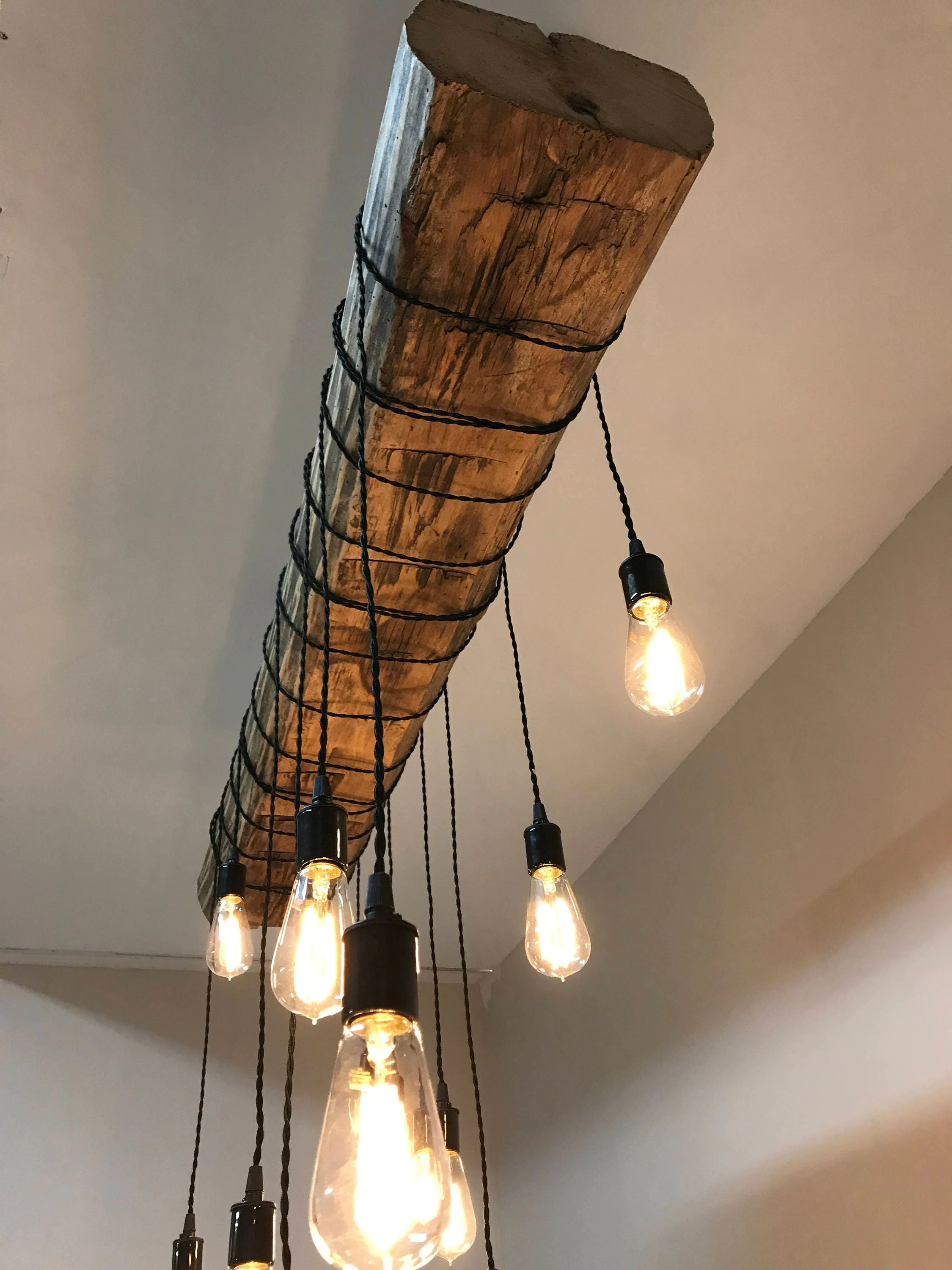 Lamparas De Pared Rusticas Reclaimed Barn Sleeper Beam Wood Light Fixture With Led Edison