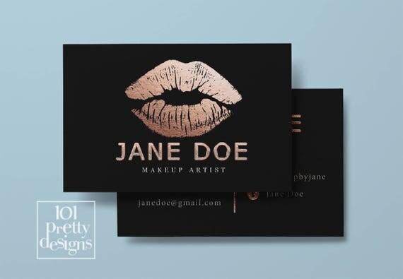 Lipsense business card rose gold foil printable business card design - lipsense business card