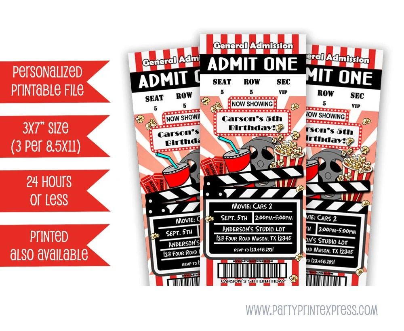 Printable Movie Ticket Invitation Movie Birthday Party - ticket invitation