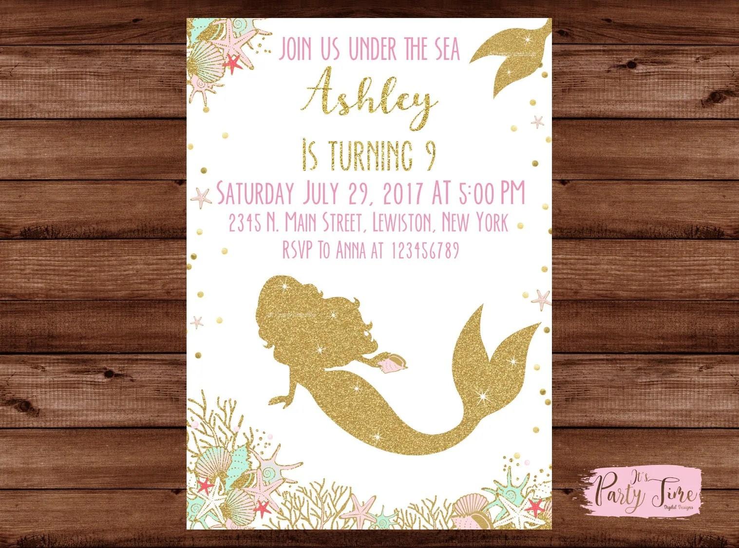 Fullsize Of Mermaid Birthday Invitations