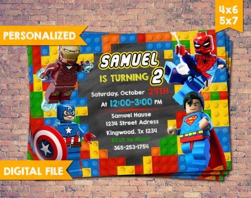 Medium Of Superhero Birthday Invitations