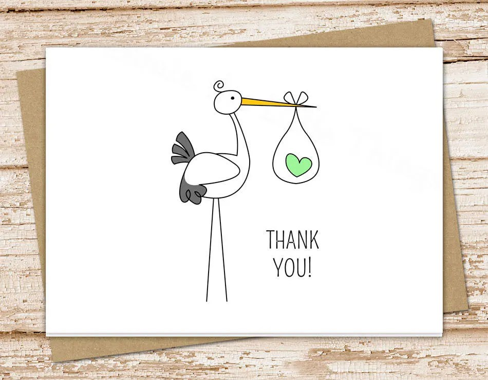 PRINTABLE stork baby thank you cards  baby boy, baby girl