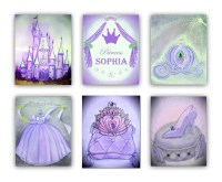 Princess Cinderella wall Art Purple SET 6 Prints Baby Girl