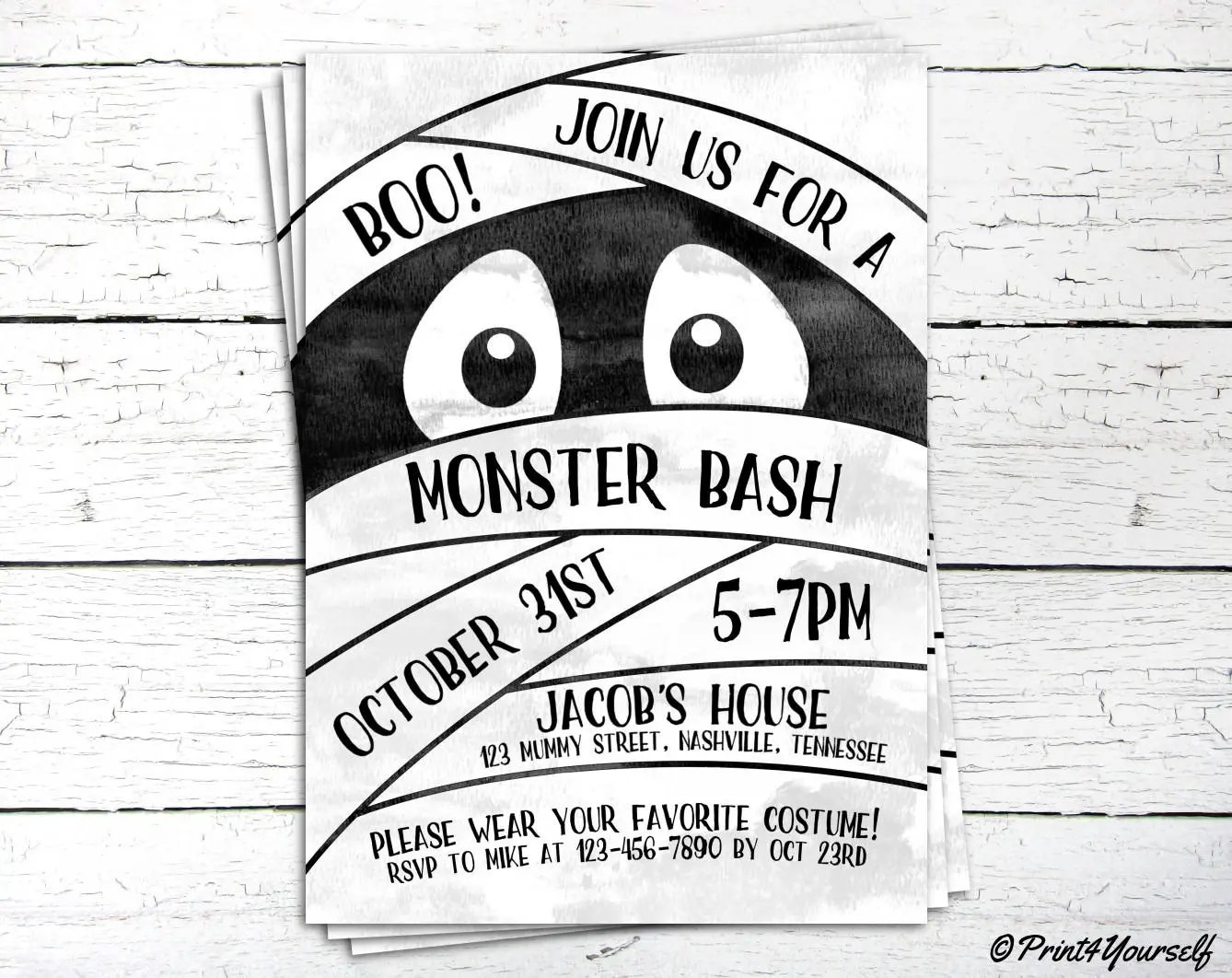 Mummy Invitation   Personalized Printable Halloween Monster Bash - invitation for halloween party