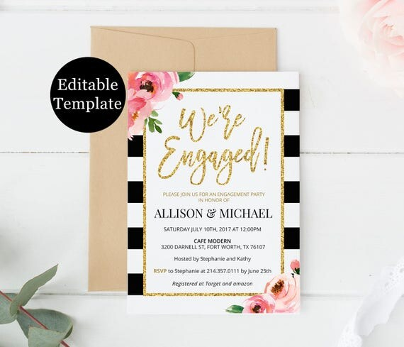 Kate Engagement Party Invitation Template, We\u0027re Engaged Printable