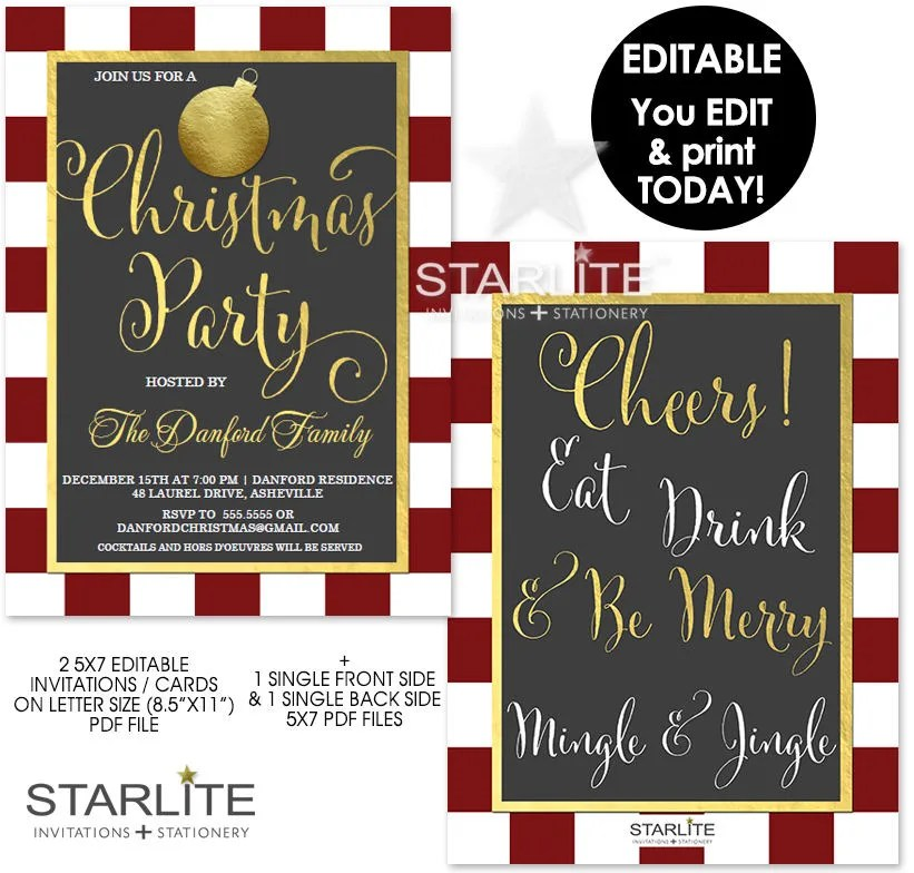 Christmas Party Invitation Download EDITABLE, Christmas Party