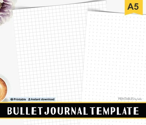 Bullet Journal Template Dot Grid Paper A5 Grid Template A5 - dot paper template